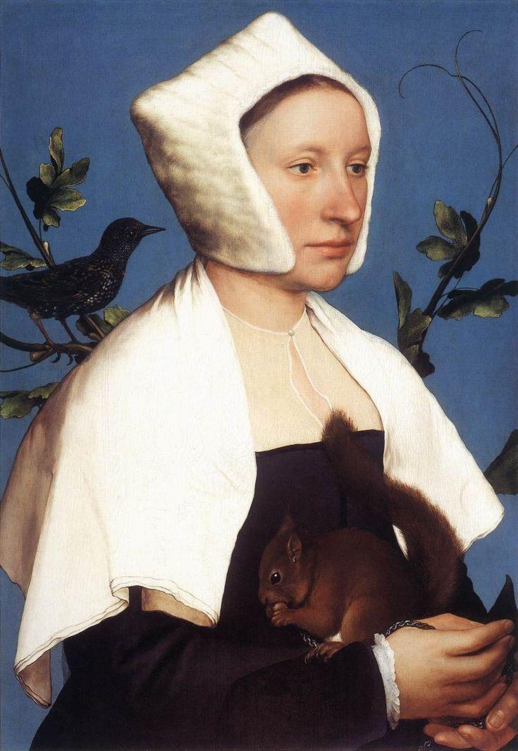 Hans Holbein, de Jonge | Dame met eekhoorn en spreeuw ( zijn eigen vrouw ) | National Gallery, London