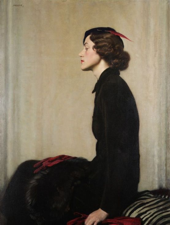 """Lady with Fan"" by David Jagger (1891–1956)                                                                                                                                                     Más"