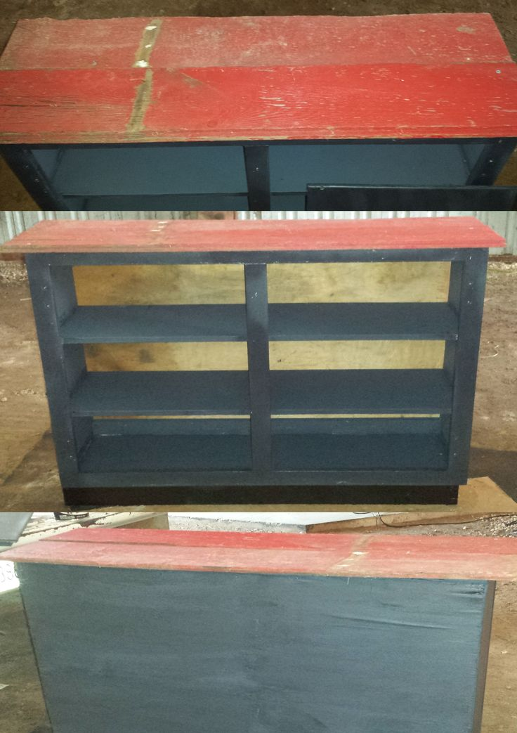 make an old kitchen cabinet in to a book shelf. i added a ...