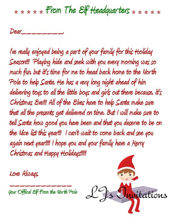 Goodbye Letter From Elf On The Shelf Template Pinterest O The Worlds Catalog Of Ideas