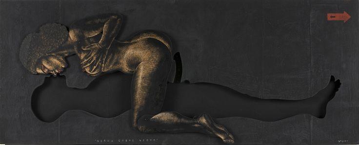 NEGRA SOBRE NEGRO. 61 x 150 cm. Esmalte y acrílico sobre DM y madera. 4.500 €