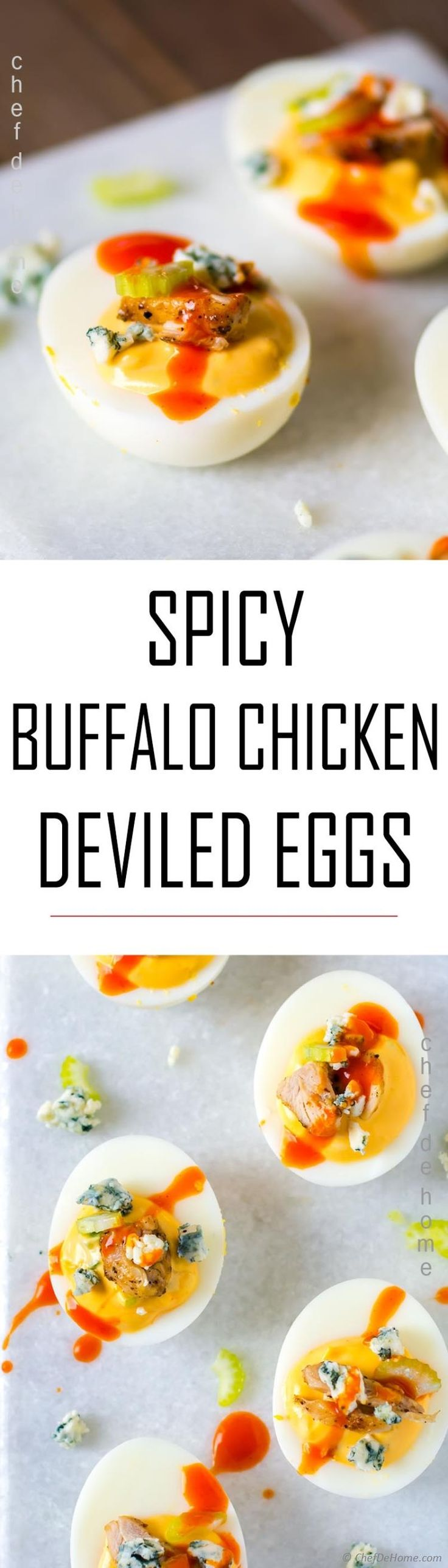 Buffalo Chicken Spicy Deviled Eggs, all flavors of buffalo chicken wings, moist chicken, hot sauce, crunchy celery, and creamy blue cheese.. topped on boiled eggs.   Just 5 ingredients, so much flavor on top of hard boiled eggs, these deviled eggs are the best deviled egg recipe, ever!