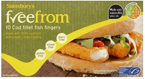 Sainsbury's freefrom Cod Fillet Fish Fingers (10 per pack - 300g)