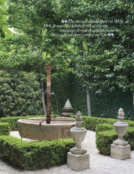 Amazing fountain by Jane Moore. Pea gravel and boxwood envy.