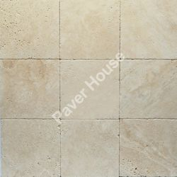 "12×12 TRAVERTINE PAVER Travertine pavers are available in 12×12, 16×16 and 24×24 and have two finishes – ""tumbled"" or ""chiseled"". Tumbled has a soft and worn look to it. Natural tumbled pavers have slightly rounded edge and corners. http://www.paverhouse.com/pavers-travertine-brick/"