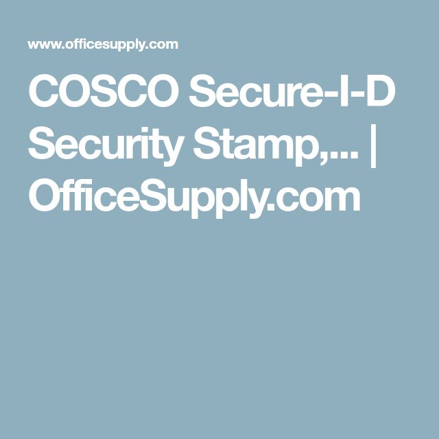 COSCO Secure-I-D Security Stamp,... | OfficeSupply.com