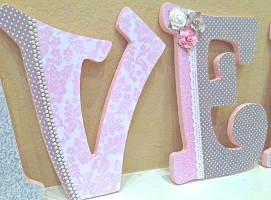 Custom  Nursery Letters for Girl- Pink and Gray Nursery Decor- Wooden Letters, Personalized Name- Baby Girl Room Decor - The Rugged Pearl