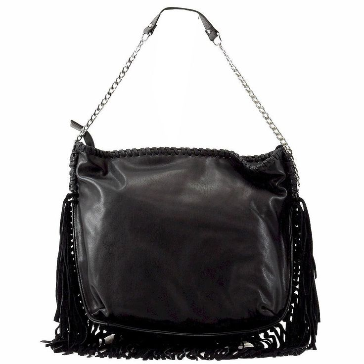 Steve Madden Black Leather Fringe BMadly Hobo Purse Tote Handbag Shoulder Bag #SteveMadden #ShoulderBag