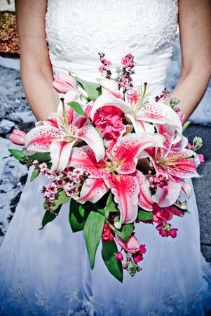 Bridal bouquet with Stargazer Lilies.