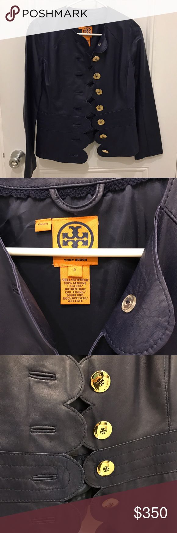 """Tory Burch Cordelia Navy Leather Jacket Size 2 Tory Burch Cordelia Navy Leather Jacket Size 2. Scalloped edge, large brass logo buttons, lamb skin leather (buttery soft), cupro lining. Shoulder to wrist: 23.5"""". Shoulder to hem: 21.5"""". Worn only once and in like-new condition! Tory Burch Jackets & Coats Blazers"""