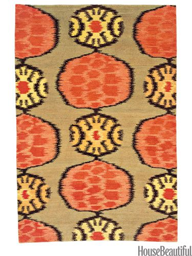 Abstract flower rug from stephanieodegard.com. housebeautiful.com. #ikat #flower #abstract #rug