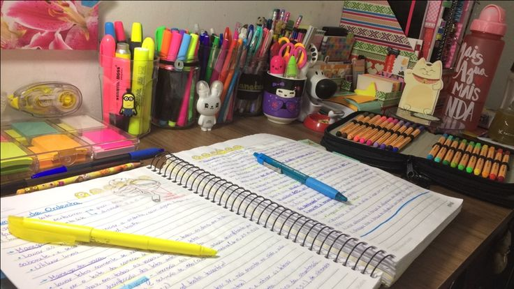 Study table, lots of pens