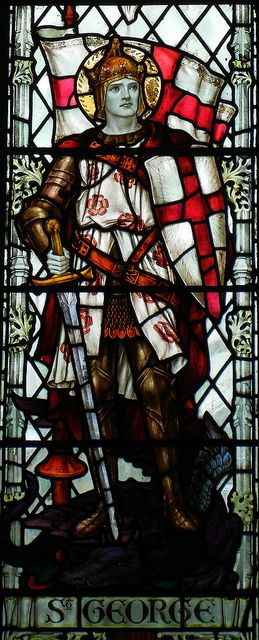 St George in stained glass. South front of the church of Sarum St Thomas in…