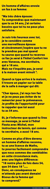 Un homme d'affaires envoie un fax à sa femme...   LABOULETTE.fr - Les meilleures images du net!