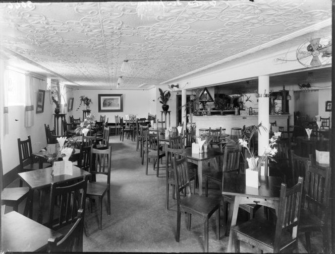 Restaurant, interior,[Christchurch?]