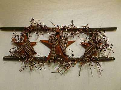 Star Ladder Wall Decor Country Primitive Home Decor Berries | eBay