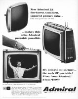 Admiral 1965 Ad. Imperial TV PG 2101, Promenade PG 2127. 21 inch Portable TV gives 40 square inches more picture than 19 inch TV...on a flat-faced, movie-square screen...in the same size cabinet as most 19s! Two speakers, one on each side, give all-around sound. Mentions PG 2101 and the Andy Williams Show.