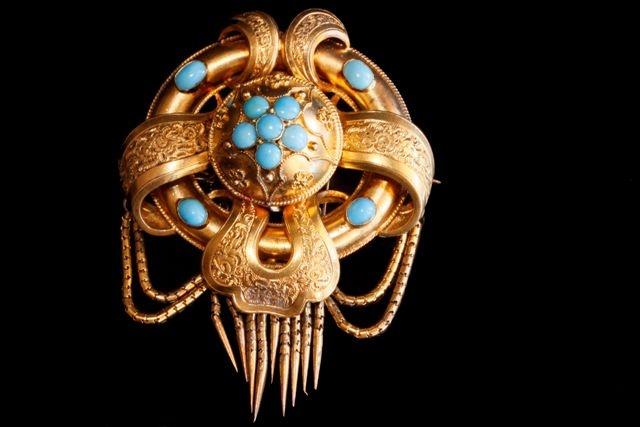 Turquiose Victorian brooch c1880