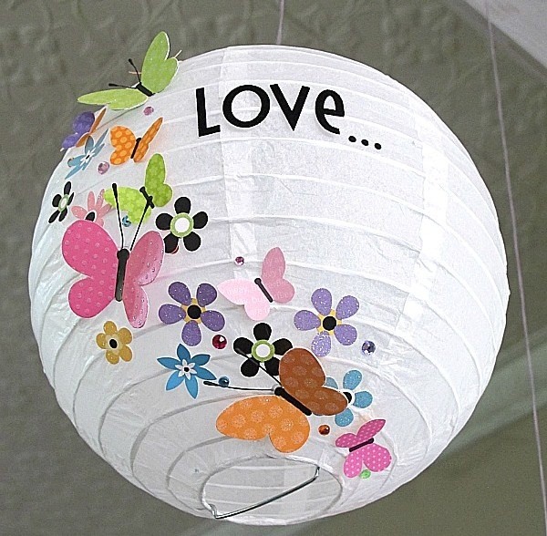 Love... Lights the Way!- White Chinese Lanterns and Colorful Cut-outs make a friendly, personalized Light fixture for a kids room - by Melinda at www.thescrapfarm.blogspot.ca #Light #Craft