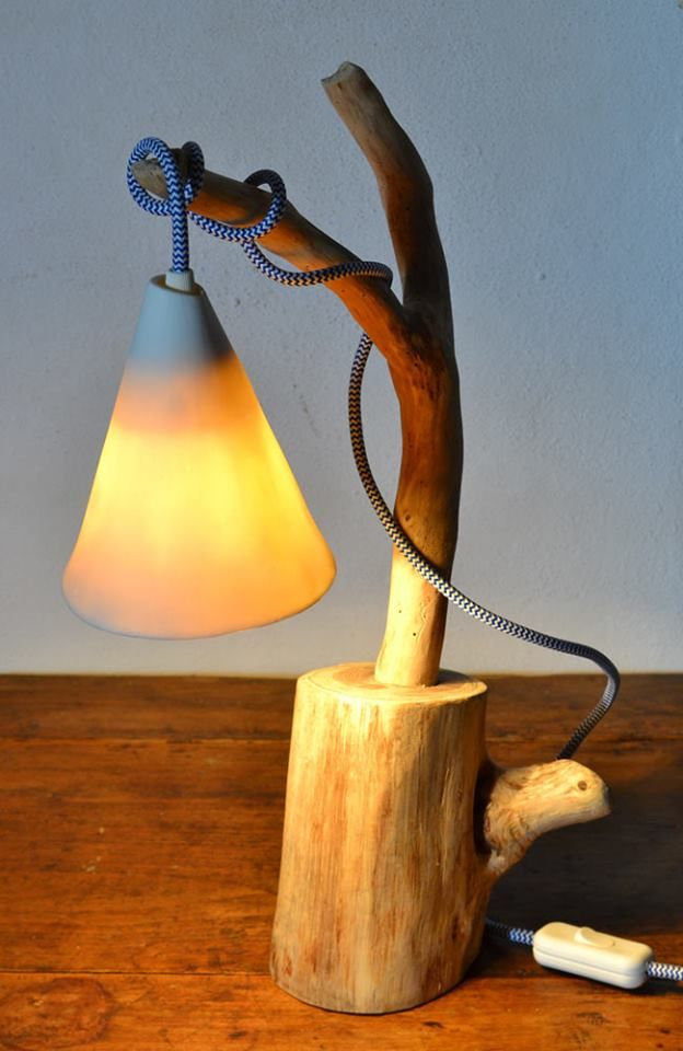 Lamps with porcelain shade The perfect combination of porcelain and wood creates…