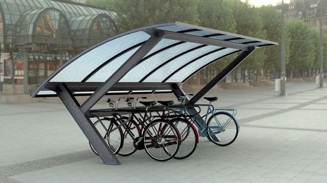Wave-Curl bike shelter by the Danish firm Cycle Spaces. Click image for details & visit the Slow Ottawa 'Nice Racks' board for more smart design.