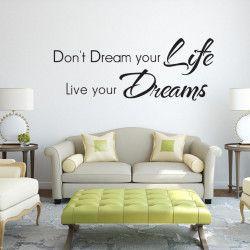 Live your dreams!  Don't dream your life, Live your dreams! Passa på och fynda detta unika väggdekor och få din dagliga dos motivation.  Länk till produkt: http://www.feelhome.se/produkt/live-your-dreams/  #Homedecoration #art #interior #design #Walldecor #väggdekor #interiordesign #Vardagsrum #Kontor #Modernt #vägg #inredning #inredningstips #heminredning #motivation #citat #dröm #levlivet #kärlek