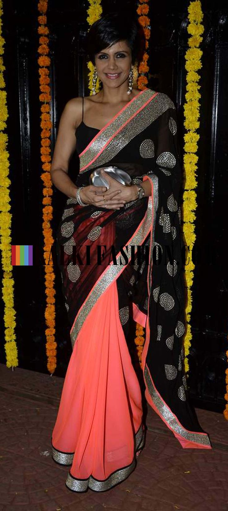http://www.kalkifashion.com/ Mandira Bedi in one of her half and half saree collection in black and pink at Ekta Kapoor Diwali Bash.