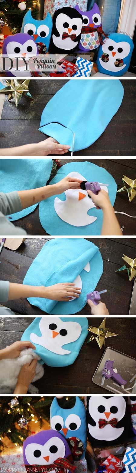 DIY Super Cute Owl & Penguin Pillows Gift Idea | lifestyle / Christmas gift ideas / Holiday pillows