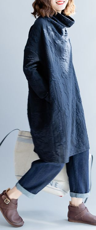 92d0c9fad0 women navy sweater dresses fall fashion high neck pullover Elegant  patchwork winter dress