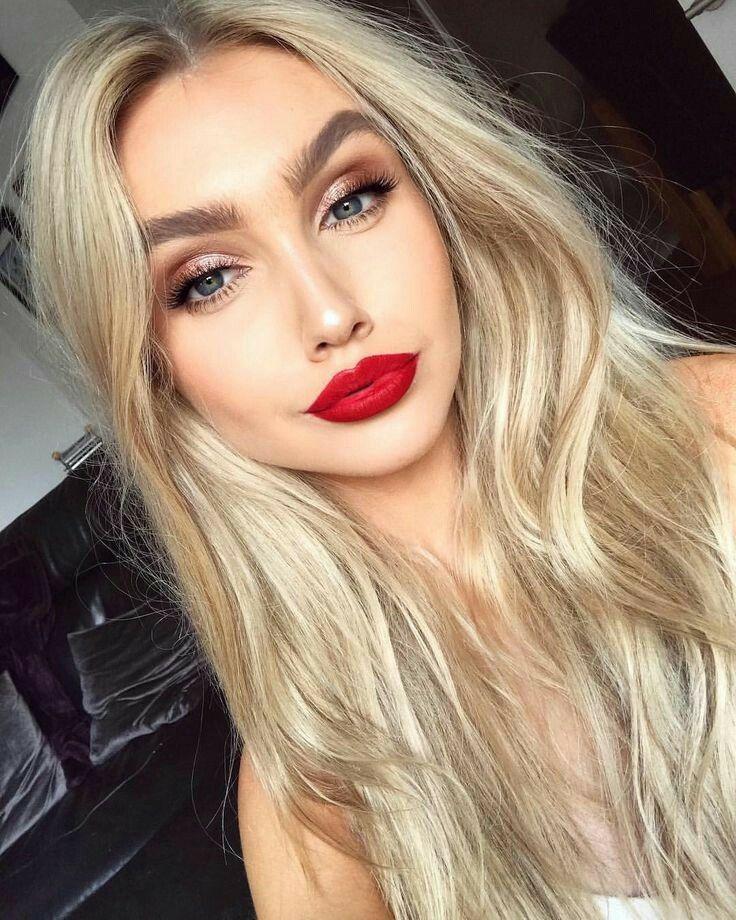 Makeup Hair Color Perfect Red Lipstick Makeup Blonde Red Lips Makeup Look Red Lipstick Makeup