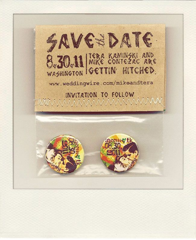 save the date; rustic; love the pins