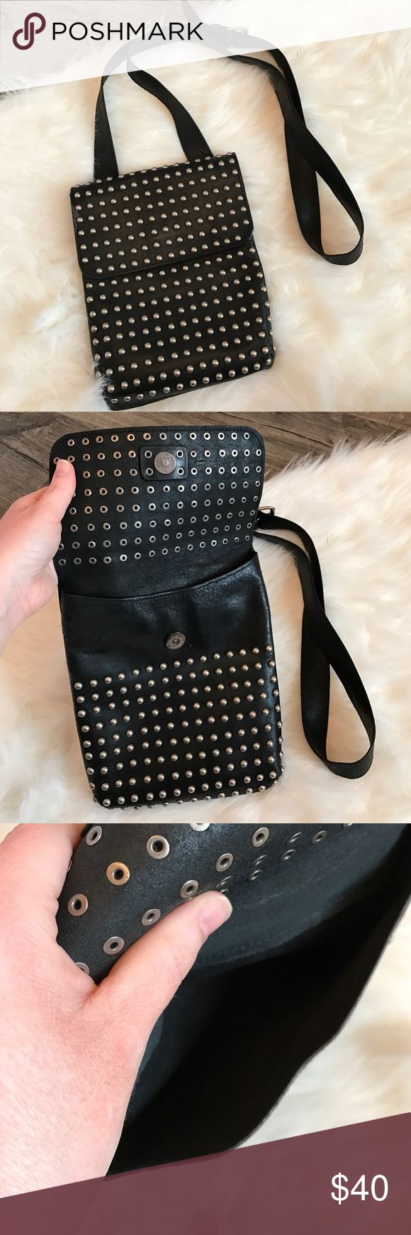 Leather studded purse Adjustable straps. This is not Harley brand but I bought at a Harley store.  Real leather. All studs in tact. Harley-Davidson Bags Crossbody Bags