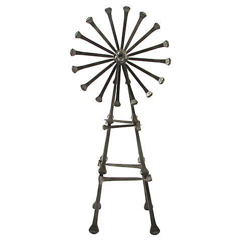 "Midcentury welded horseshoe nail art iron windmill. No maker's mark. Size: 4"" L x 3"" W x 9.5"" H Era: Vintage; 1960s Materials: iron Condition: Very Good; minor wear"
