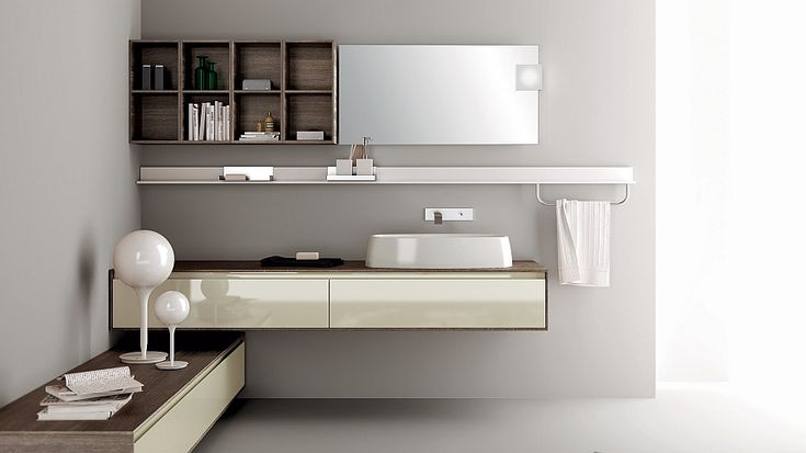 Floating bathroom vanity with sink