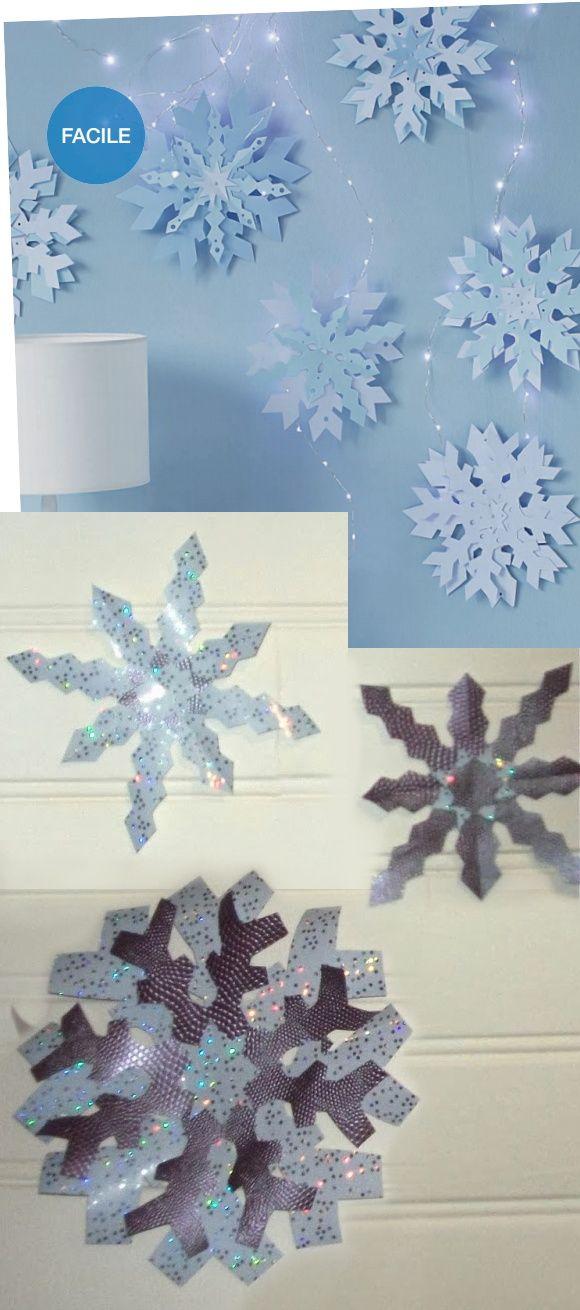 Flocons et étoiles découpés dans du papier cadeau brillant - tutoriel