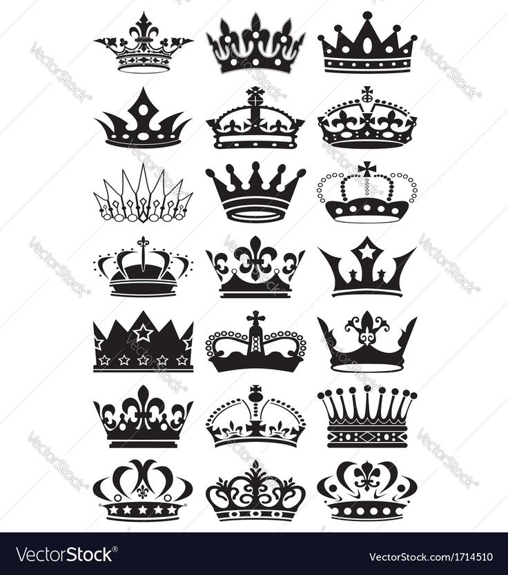 Crown silhouettes on white background. Download a Free Preview or High Quality Adobe Illustrator Ai, EPS, PDF and High Resolution JPEG versions.