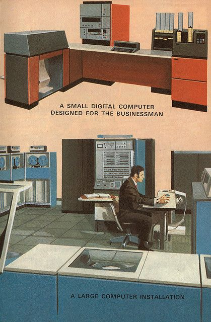 """'How it works' The Computer by David Carey. Illustrations by B. H. Robinson. Ladybird book. First published in 1971.  Look at the size of the """"small digital computer""""."""