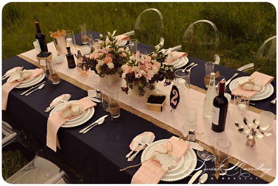 blush & blueberry, pink & navy blue reception decor, la partie events, flower arrangements, burlap table runner, pink silk Photo by Sweet Monday Photography www.sweetmondayphotography.com: