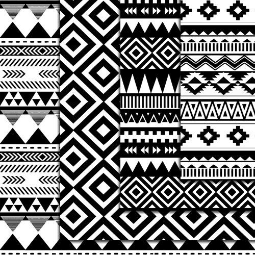 12 Seamless Black And White Aztec Digital Paper, Ikat, geometric pattern…