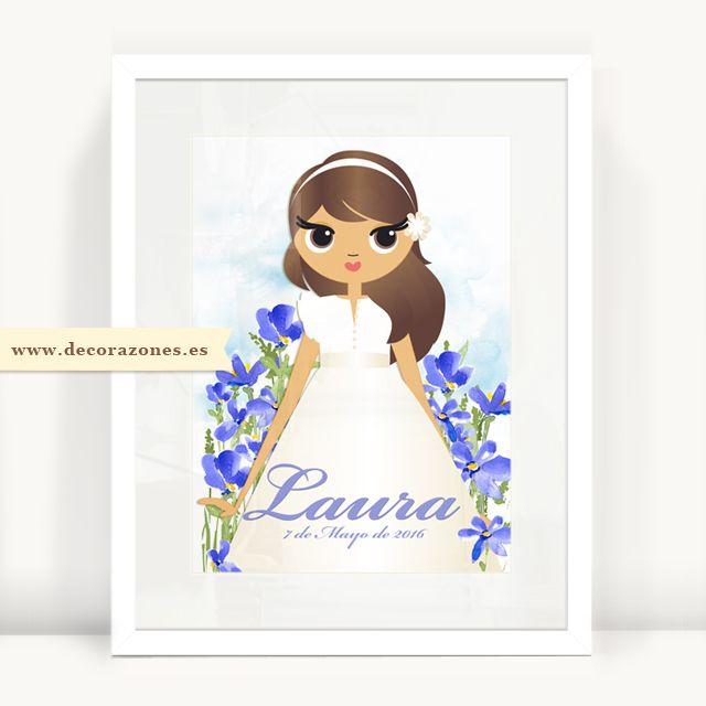 Decorazones.es _ Un regalo inolvidable. Lámina de Primera comunión personalizada con flores azules pintadas con acuarela. #primeracomunion #comuniones #decoracioninfantil