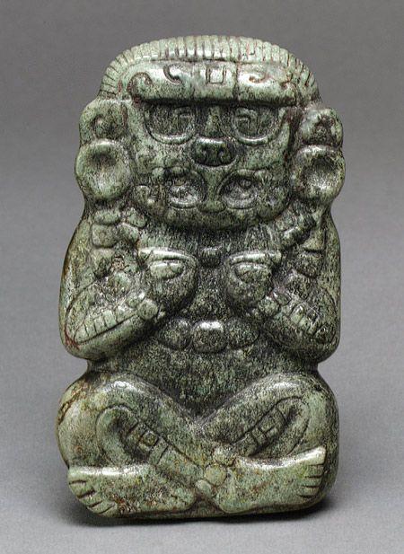 Deity Figure, 3rd–6th century Honduras; Maya Jade (jadeite), cinnabar