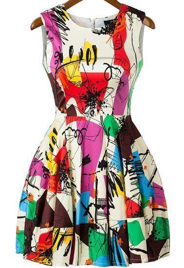 Vestido corto grafiti sin manga-Multicolor  0.00