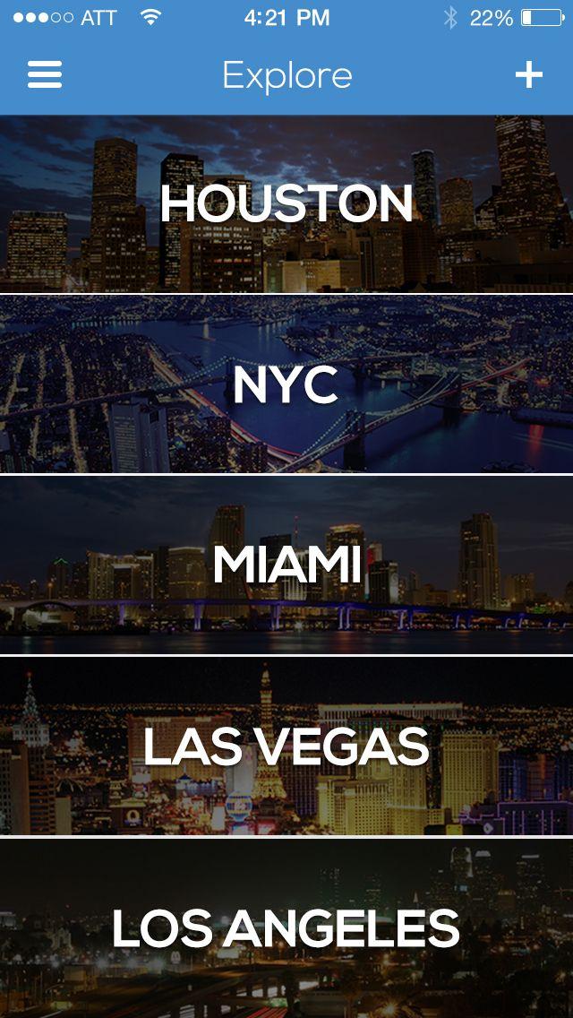 Explore Cities | iOS7 Status Bar / Regy Perlera