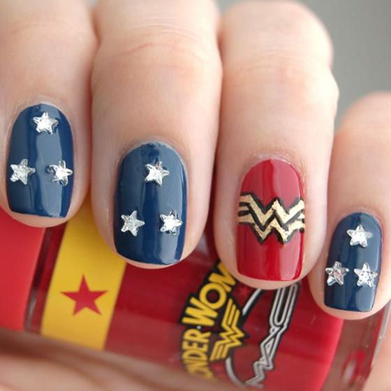 This Wonder Woman nail art is patriotic and obviously so wonderful.