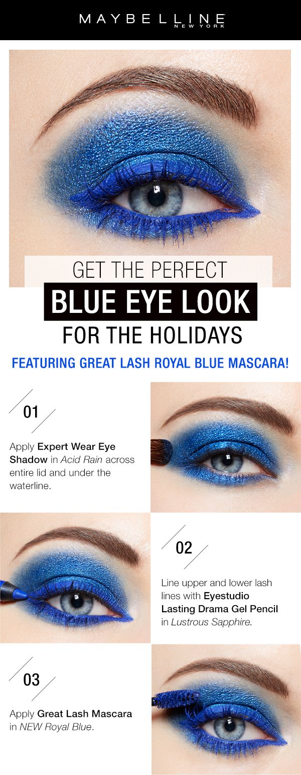 Want to slay your New Years Eve party makeup look?! Rock this bright blue eyeshadow and blue mascara look and be the center of attention.  First, apply Expert Wear Eyeshadow in 'Acid Rain' across the lid and on the lower lashline.  Next, line the lashline and waterlline with Lasting Drama Gel  Pencil in 'Lustrous Sapphire'.  Finish off the look with Great Lash Royal Blue Mascara.