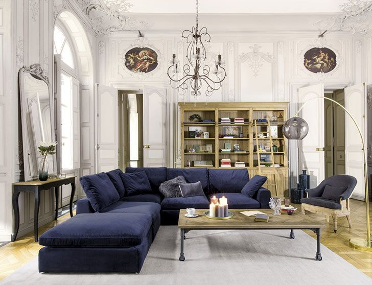 Magnificent French Design In The New Classique Chic Collection By Maisons Du Monde Photos Ideas Design Corner Sofa Living Room Layout Modular Corner Sofa Blue Sofas Living Room