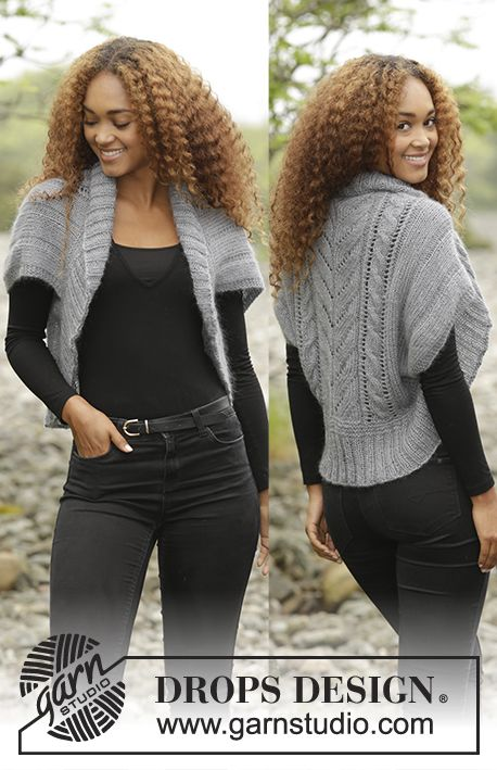 "Free Pattern: Grey Whisper by DROPS Design Knitted DROPS shoulder piece with cables and rib in ""BabyAlpaca Silk"" and ""Kid-Silk"". Size: S - XXXL."