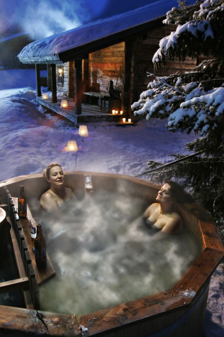 In Ylläs ski resort, Lapland, Finland -after a sauna bath in a barrel