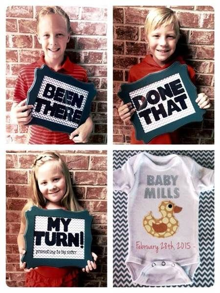 If you're adding a third or a fourth one to your family, this is a super cute pregnancy announcement idea.