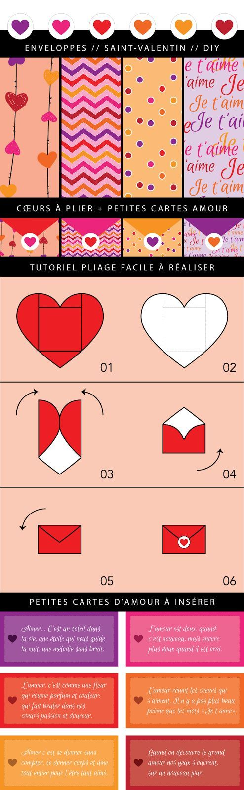 Coeurs à plier / Saint-Valentin / DIY